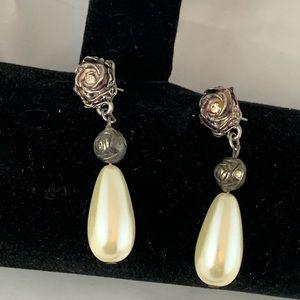 Faux Pearl Drop Earrings -117
